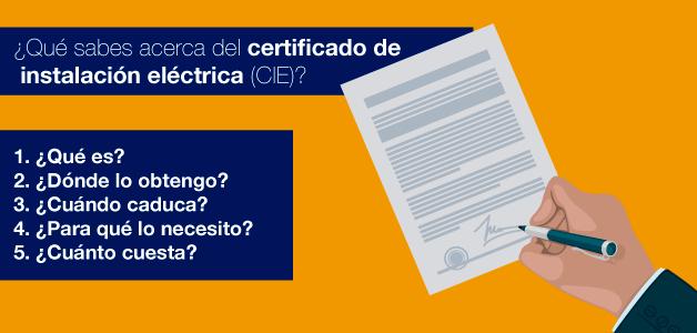CIE; certificado de instalación eléctrica